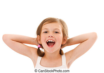 shouting little girl - happy shouting little girl portrait...