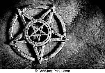 pentagram, kéz, makro, lövés