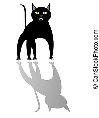 Black cat and its shadow.. - Black cat looking off in...
