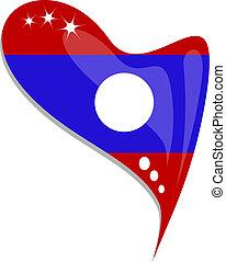 Laos flag button heart shape. vector