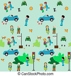 KIds town cartoon seamless pattren - Town of kids. It shows...