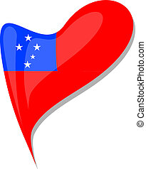samoa flag button heart shape vector - samoa flag button...