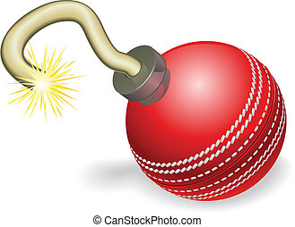 Cricket ball bomb concept - Retro cartoon cricket ball...