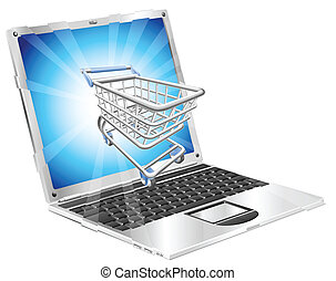 Internet shopping laptop concept illustration. Shopping cart...