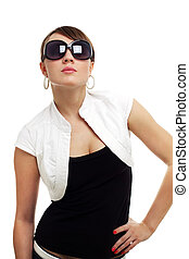 Young woman wearing sunglasses isolated on white