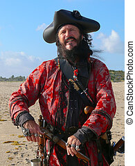 Pirate with weapons on the beach - Three quarter length...