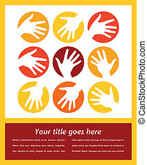 Hand circle design - Hand circle design with copy space...
