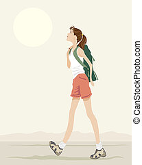 backpacker - an illustration of a young woman with backpack...