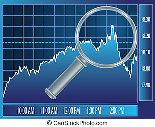 Stock market trend under magnifier glass Finance concept...