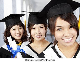 Feliz, graduação, Asiático, meninas