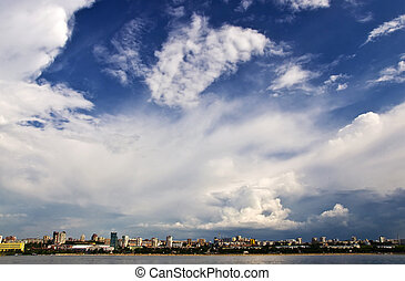 Sky with storm clouds over the port city. Samara, Russia....