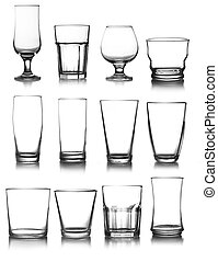 glassware collection - big glassware collection isolated on...