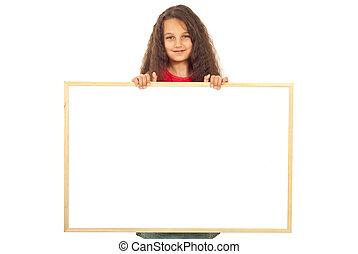 Girl holding blank banner - Smiling girl seven years old...
