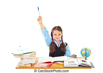 I know the answer! - Schoolgirl at school raising hand with...