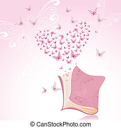 Book with pink butterflies