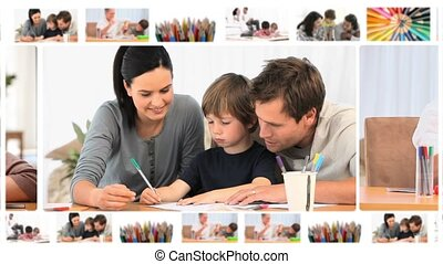 Montage of children writing or drawing at home