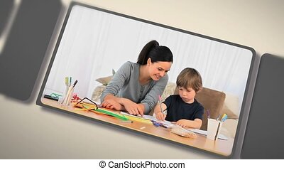 Montage of children doing their homework with their parents...