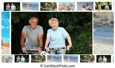 Montage of elderly couples sharing moments together outside