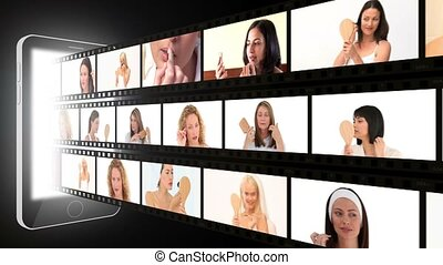 Montage of attractive women putting make-up on in a studio