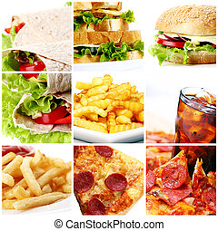Fast Food Collage - Collage of different fast food products