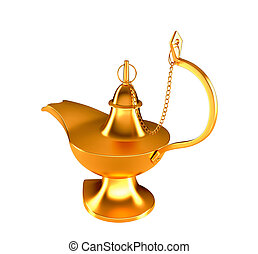 Golden Genie lamp isolated on white - Golden Genie lamp...