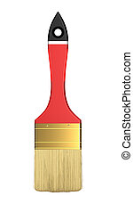 Housework and renovation: red paintbrush isolated over white...