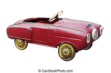 Vintage toy car - Red vintage toy car isolated on white