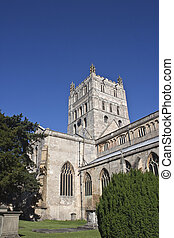 tewkesbury abbey tower and grave yard