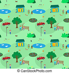 KIds town cartoon seamless pattern - Town of kids. It shows...