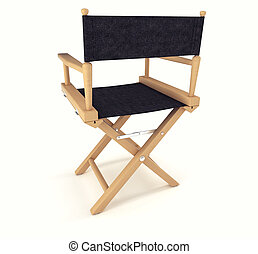 Flim industry: back view of directors chair over white...