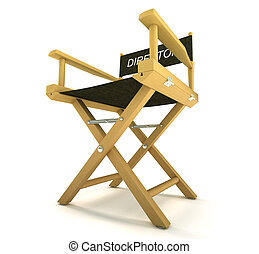 filmmaker or producer: directors chair on white - filmmaker...