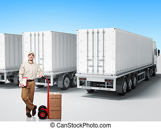 delivery man - smiling delivery man and truck background