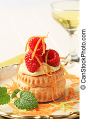 Cream filled puff pastry shell