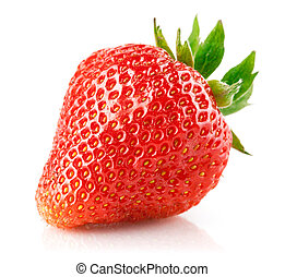 strawberry berry with green leaf