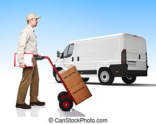 delivery man - standing worker with handtruck
