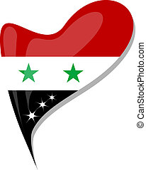 Syria flag button heart shape. vector - Syria flag button...