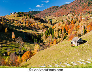 Village landscape in Romania - Autumn landscape in an alpine...