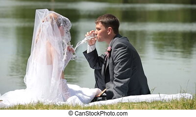 Newly married pair - bride and groom drink champagne sitting...