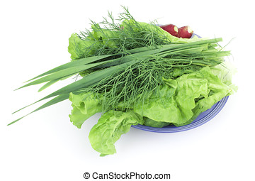 Green-stuff on a plate on a white background