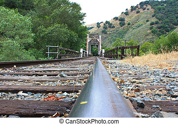 Rail view - view of tracks in Niles Canyon, California