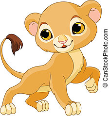 Brave  Lion Cub - Brave cute Lion Cub of a white background
