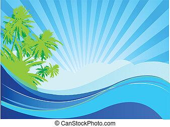 Summer vacation - Summer themed beach illustration...