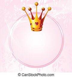 Princess crown - Pink background with crown for true...