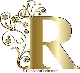 capital letter R gold