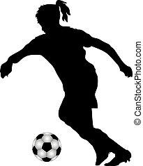 女性, サッカー, プレーヤー