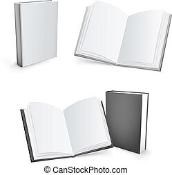 3d vector books - 3d vector white and black mesh books...