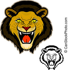 Roaring Lion Head Mascot - Intense and powerful front view...