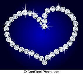 corazón, diamantes