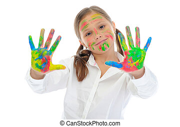 smiling girl with the palms painted by a paint.