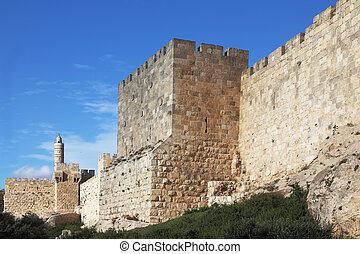 Grandiose walls of Jerusalem and the Tower of David